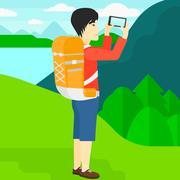 Backpacker taking photo Stock Illustration