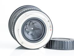 Proffesional photography lens clearly showing the aperture blades or iris Stock Photos