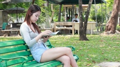 asia thai northeast adult beautiful girl read a book - stock footage
