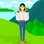 Backpacker looking at map Stock Illustration