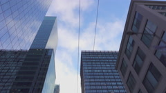 Big modern city with tall glassy skyscrapers and office buildings Stock Footage