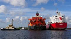 Ship to ship cargo transfer Stock Footage
