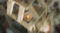 Wooden Glazed Lantern With Burning Candle Inside - stock footage