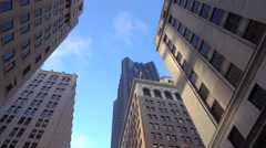 Contemporary office buildings and glassy skyscrapers in city downtown Stock Footage