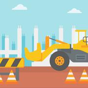 Background of excavator on construction site - stock illustration