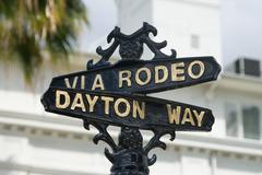 Via Rodeo and Dayton Way Street Sign Kuvituskuvat