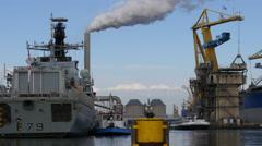 Navy vessel HMS PORTLAND  Stock Footage