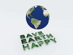 Save Earth Happy Concept Stock Illustration