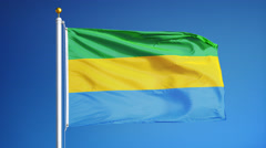 Gabon flag in slow motion seamlessly looped with alpha Stock Footage