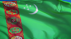 Turkmenistan flag in slow motion seamlessly looped with alpha - stock footage