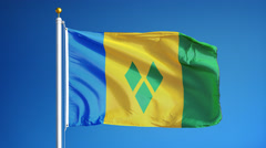 Vincent and the Grenadines flag in slow motion seamlessly looped with alpha Stock Footage