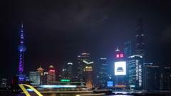 Night time lapse, Shanghai, China - stock footage