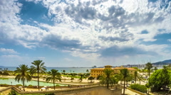 Timelapse with the view of the beach of Plama de Mallorca Stock Footage