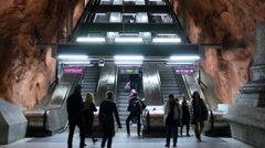 Time Lapse Zoom - Escalators in the Stockholm Subway -  Stockholm Sweden - stock footage