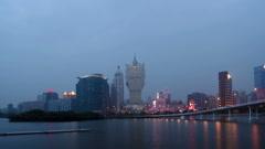 Timelapse of skyline of Macau city at Nam Van Lake Stock Footage