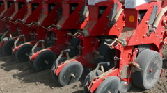 Sowing machine planting seeds Stock Footage