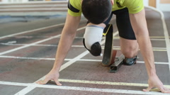 Paralympic Athlete starting From Blocks Stock Footage
