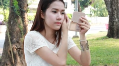 asia thai northeast adult beautiful girl make up - stock footage