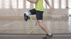 Paralympic Athlete Running a Race Stock Footage