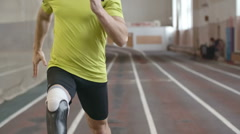 Inspiring Amputee Athlete Running - stock footage