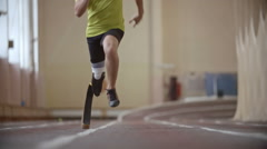 Paralympic Athlete Running a Race - stock footage