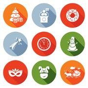 New Year and the Presidents address Icons Set. Vector Illustration Stock Illustration