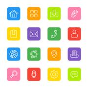 white line web icon set on colorful rounded rectangle - stock illustration