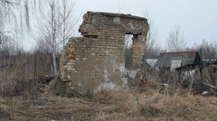 Remains of the Walls of Brick House. Stock Footage