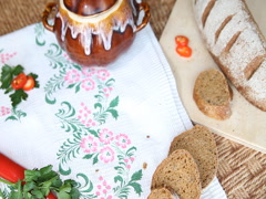 On the Russian table put a pot of food. Soup decorated with dill. Stock Footage