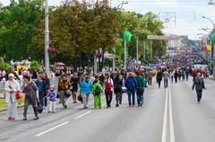 People walk on Sovetskaya street during City Day celebrations, Gomel Stock Photos
