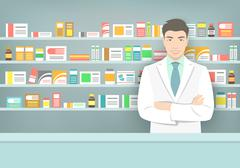 Pharmacist at counter in pharmacy opposite shelves with medicines Piirros
