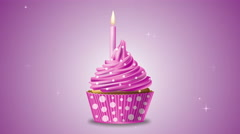 Pink birthday cupcake with a candle and sparkling stars. 4K motion. Stock Footage