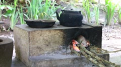 Old kettle and frying pan on bonfire of countryside. Island Bali, Indonesia Stock Footage