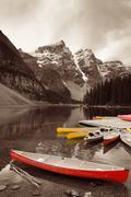 Moraine Lake boat - stock photo