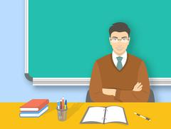 School teacher asian man at desk flat education illustration - stock illustration