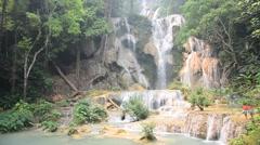 Kuang Si Falls or Tat Kuang Si Waterfalls Stock Footage