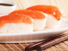 Salmon nigiri sushi - stock photo