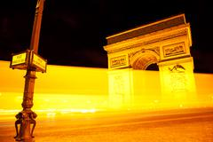 Arc de Triomphe by night, Paris - stock photo
