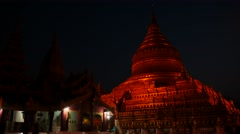 Shwezigon Pagoda of Bagan in Myanmar people night motion hyperlapse Stock Footage