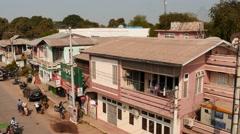 Bagan Lanmadaw 3 street view from roof - Myanmar Stock Footage