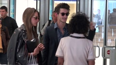 Pierre Niney arriving in Cannes with his girlfriend Stock Footage