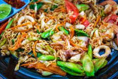 Pad thai with shrimps - stock photo