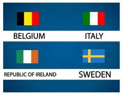 European soccer cup - group E - stock illustration