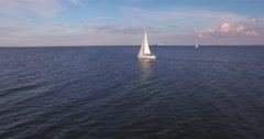 Aerial view of a sailing boat on zhe baltic sea near kiel Stock Footage