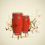 Red drums and notes - stock illustration