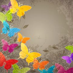 Stock Illustration of Butterflies and floral ornament