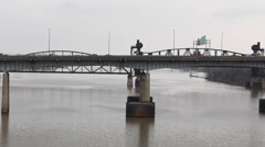 Steel Bridge over the Arkansas River - stock footage