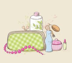 Handbag and cosmetics - stock illustration