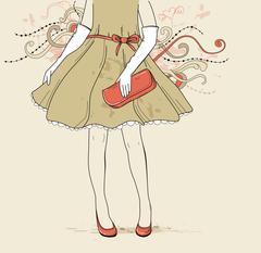 Girl in evening dress - stock illustration