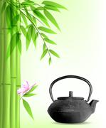 Green bamboo and tea Piirros